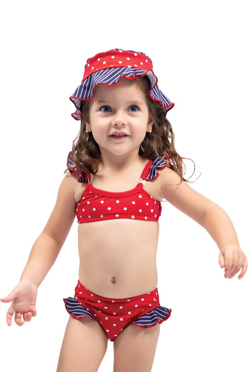 Conjunto biquíni baby com chapéu poá vermelho
