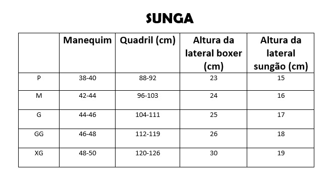 Tabela de medidas beira amar rio sunga